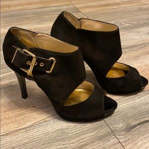 Nine West black suede/leather with gold buckles